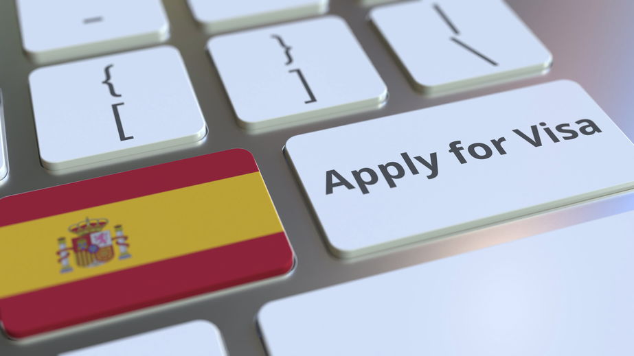 Applying for a Spanish residency visa with keyboard